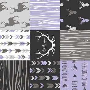 Patchwork Deer - Lilac Black And Grey - Rotated