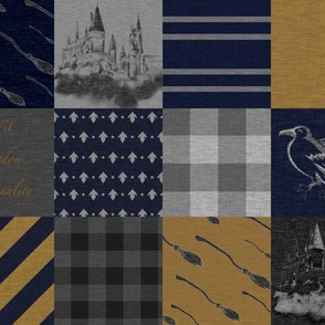 Wit, Wisdom, Originality - Navy and bronze Wizard Quilt