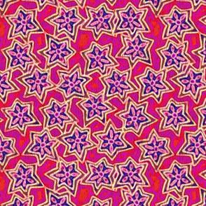 Block Print Stars in Red, Medium