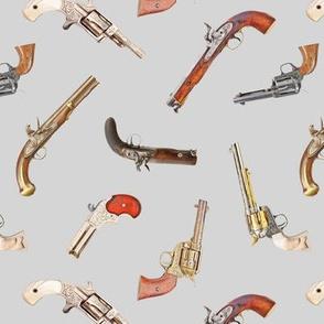 Antique Pistols on Light Grey // Small