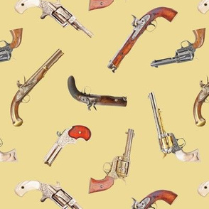 Antique Pistols on Tan // Small