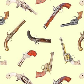 Antique Pistols on Pale Yellow // Small