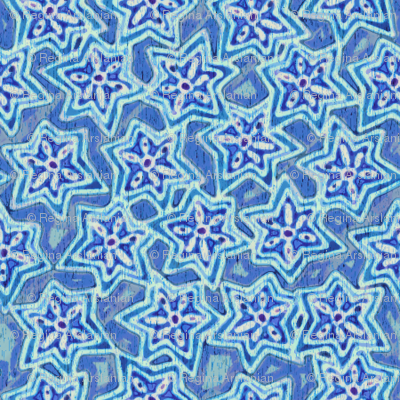 Block print stars in blue, medium