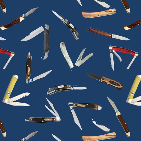 Pocket Knives on Navy // Small fabric by thinlinetextiles on Spoonflower - custom fabric
