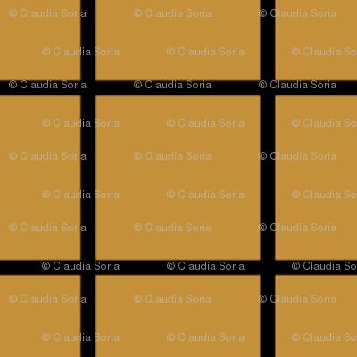Square Grid - Mustard Black
