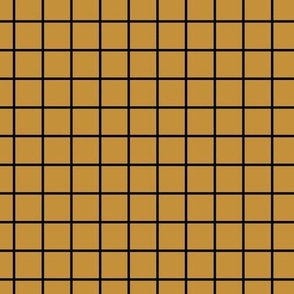 Square Grid - Mustard Black