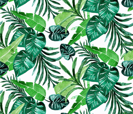 tropical-greens//white fabric by crystal_walen on Spoonflower - custom fabric
