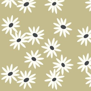 daisies - modern floral spring bloomed -sage green avocado