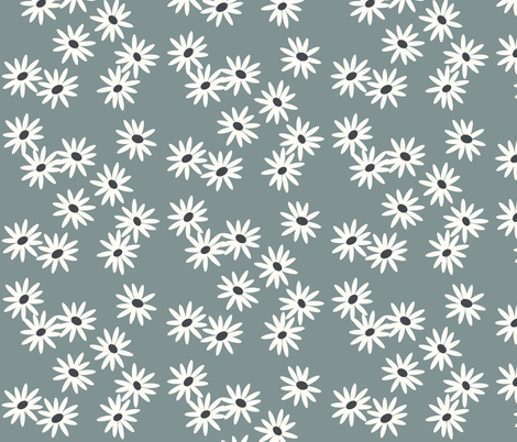 daisies - dusty blue flowers spring baby girls fabric by sunny_afternoon on Spoonflower - custom fabric