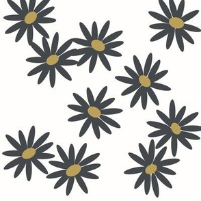 daisies - graphite and mustard flowers  spring summer floral meadow