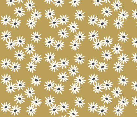 daisies - mustard daisies, baby girl floral fabric by sunny_afternoon on Spoonflower - custom fabric