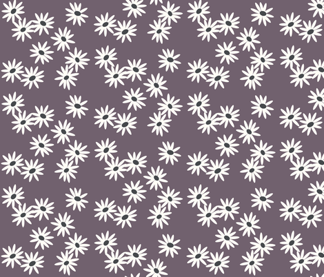 Daisies - purple violet fabric by sunny_afternoon on Spoonflower - custom fabric