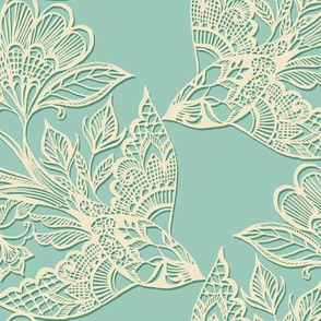 Lace Birds {Cream/Mint}