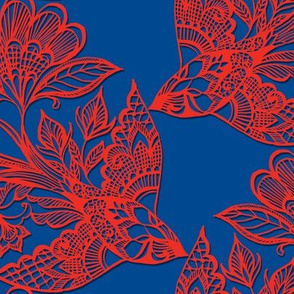 Lace Birds {Scarlet/Ultramarine}