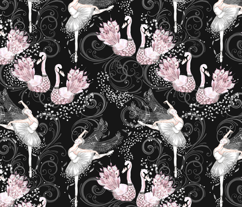 Swan lake repeat fabric by suzyspellbound on Spoonflower - custom fabric