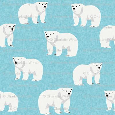 polar bear arctic animal kids nature bears fabric icy blue