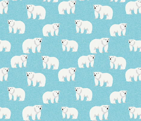 polar bear arctic animal kids nature bears fabric icy blue fabric by charlottewinter on Spoonflower - custom fabric
