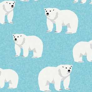 polar bear arctic animal kids nature bears fabric icy blue