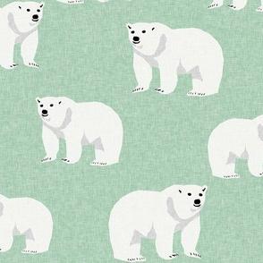 polar bear arctic animal kids nature bears fabric mint