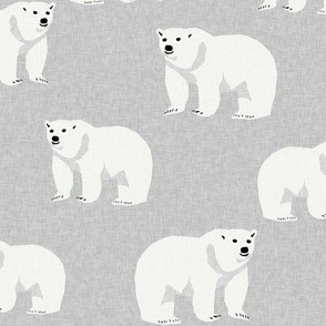 polar bear arctic animal kids nature bears fabric grey