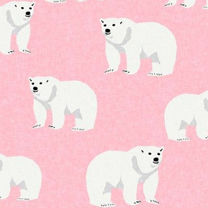 polar bear arctic animal kids nature bears fabric pink
