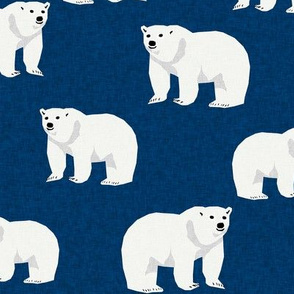polar bear arctic animal kids nature bears fabric navy blue