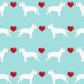 bull terrier white coat love hearts dog breed fabric terriers blue