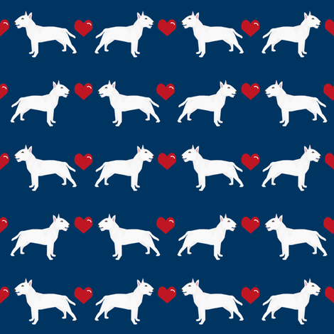bull terrier white coat love hearts dog breed fabric terriers navy fabric by petfriendly on Spoonflower - custom fabric