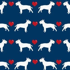 bull terrier white coat love hearts dog breed fabric terriers navy