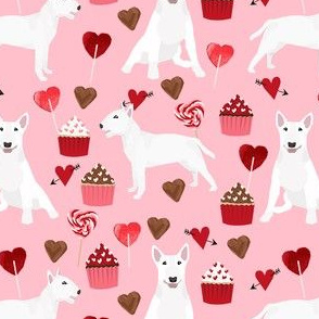 bull terrier white coat cupcakes love hearts valentines day dog fabric pink