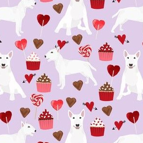bull terrier white coat cupcakes love hearts valentines day dog fabric purple