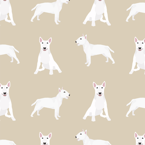 bull terrier white coat simple dog breed fabric tan fabric by petfriendly on Spoonflower - custom fabric