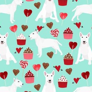 bull terrier white coat cupcakes love hearts valentines day dog fabric turquoise
