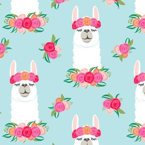 floral llama - spring colors on  baby blue