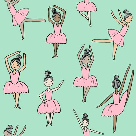 ballet // dancing dancer ballet fabric cute girls music mint fabric by andrea_lauren on Spoonflower - custom fabric