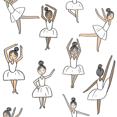ballet // dancing dancer ballet fabric cute girls music white fabric by andrea_lauren on Spoonflower - custom fabric