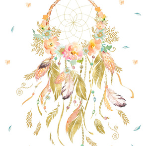 "42""X72"" GOLD PEACH MINT DREAMCATCHER"