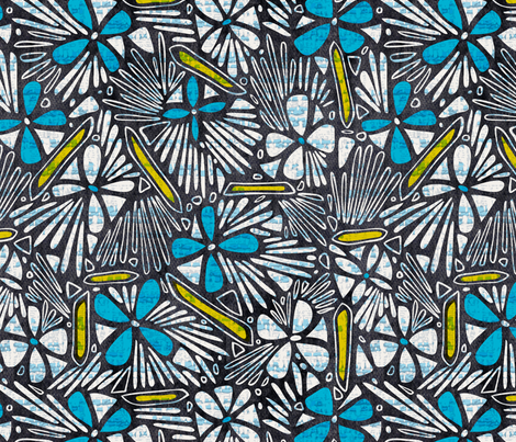 Asha Floral - Blue Yellow fabric by heatherdutton on Spoonflower - custom fabric