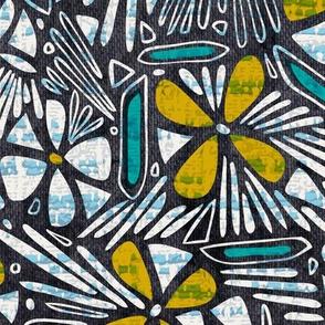 Asha Floral - Mustard Aqua