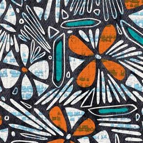 Asha Floral - Orange Aqua