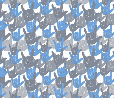ASL I love you Blue fabric by kaldreacollections on Spoonflower - custom fabric