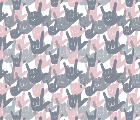 ASL I love you Pink fabric by kaldreacollections on Spoonflower - custom fabric