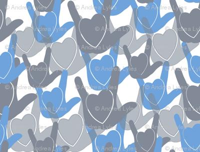 ASL I love you BLUE Hearts