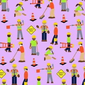 Construction Workers Light Purple