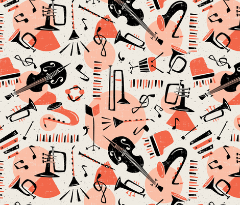 Jazz Band - Salmon & Beige fabric by heatherdutton on Spoonflower - custom fabric