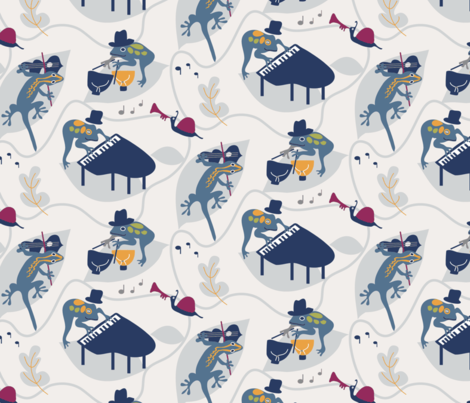 Frog Concert-blues fabric by space_tempo_design on Spoonflower - custom fabric