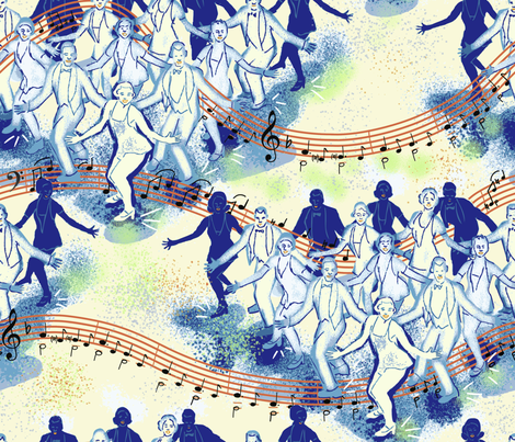 Tap Dance Finale Blue fabric by vinpauld on Spoonflower - custom fabric