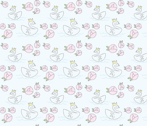 Swan Lake - Light Blue fabric by satsuma_designs on Spoonflower - custom fabric