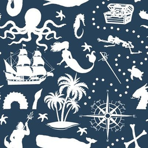 High Seas Adventure on Navy Blue // Small
