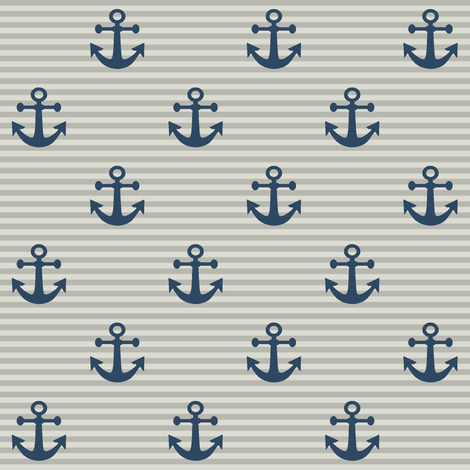 "1"" Navy Anchors  fabric by thinlinetextiles on Spoonflower - custom fabric"